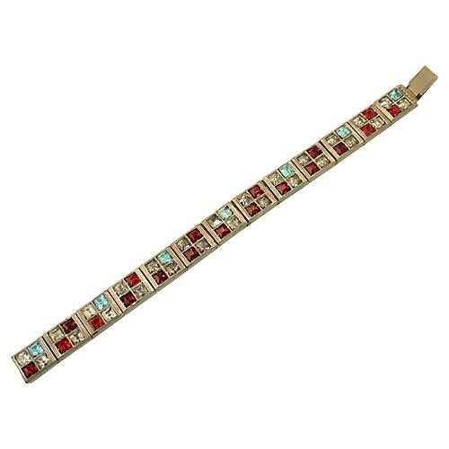 1920s Deco Allco Ruby Crystal Bracelet