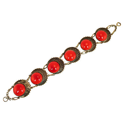 1920s Czech Red Glass Eye Bracelet