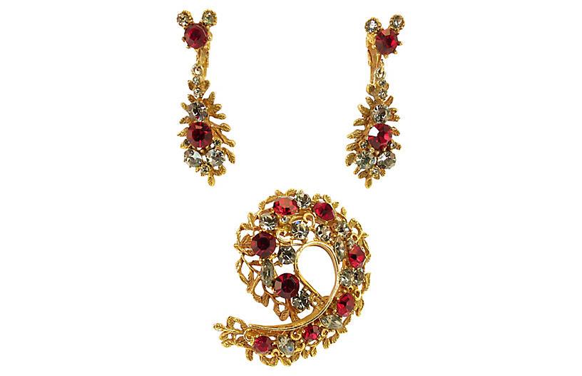 1960s BSK Ruby Brooch & Earrings Set