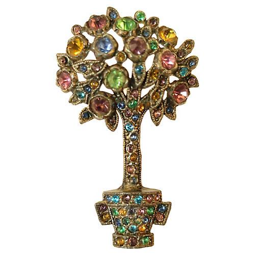 1920s Art Deco Asian Tree of Life Brooch