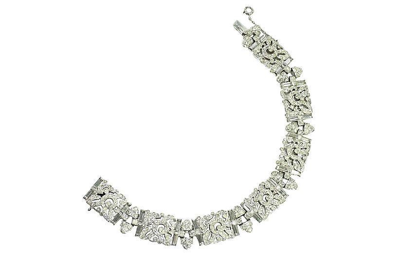 1930s Deco KTF Trifari Crystal Bracelet