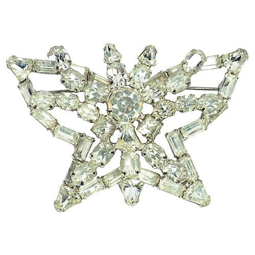 1950s Rhodium Crystal Butterfly Brooch