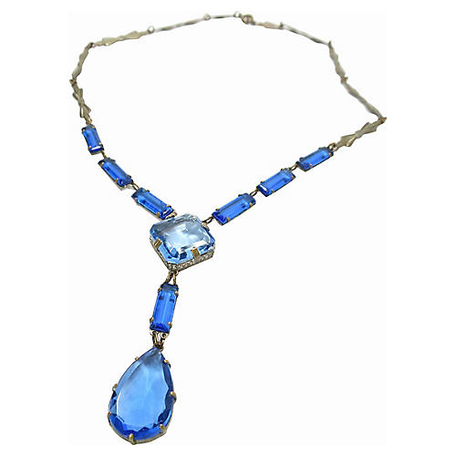 1920s Deco Czech Blue Crystal Necklace