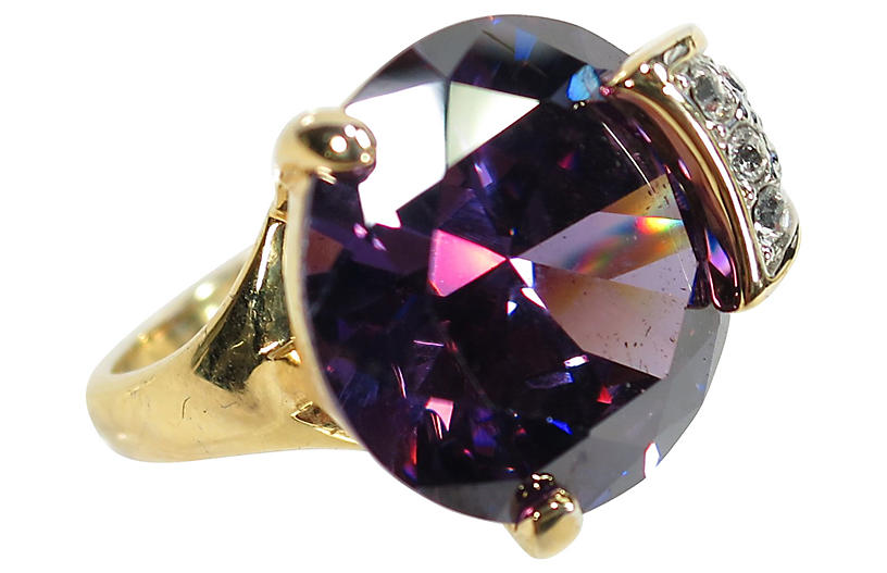 1970s Purple Sapphire Cocktail Ring