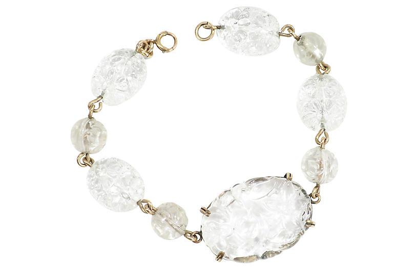 1950s Austrian Carved Crystal Bracelet