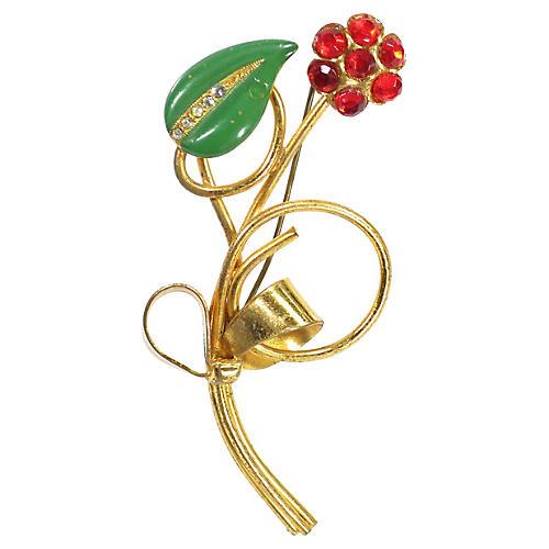 1920s Art Deco Christmas Flower Brooch