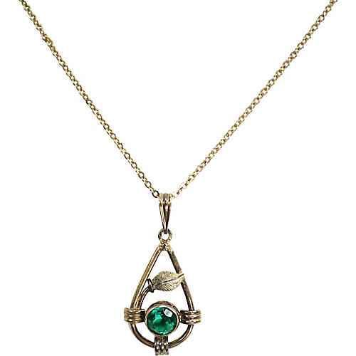 Edwardian Emerald Crystal Pendant