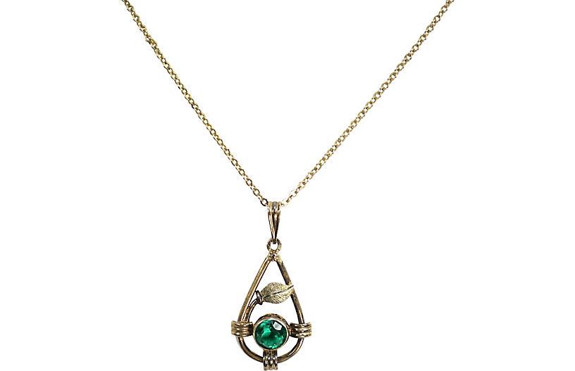 Edwardian Emerald Crystal Pendant