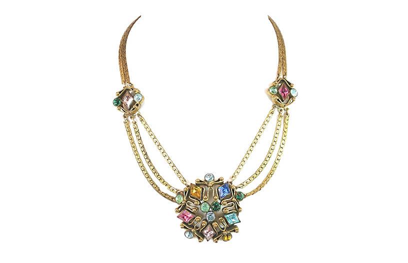 1920s Art Deco Czech Jewel-Tone Necklace