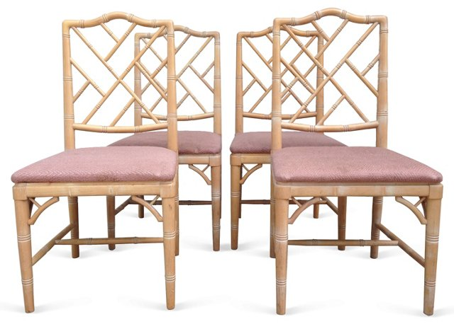 Faux-Bamboo Chairs,   Set of 4