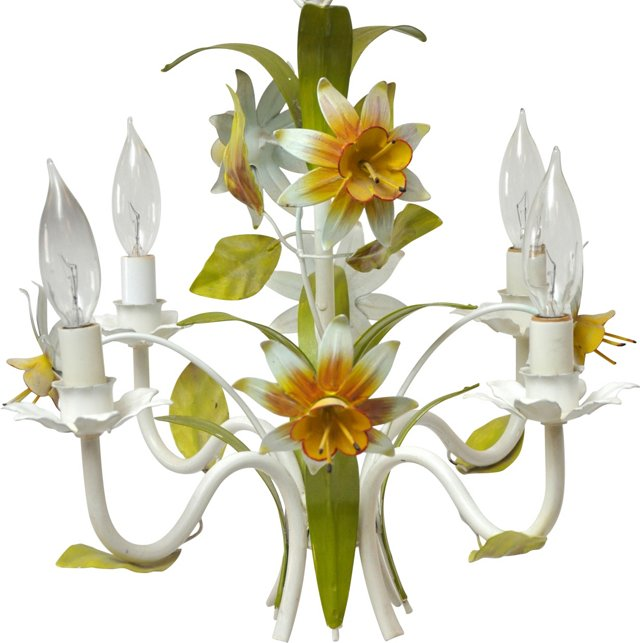 Daffodils Tole Chandelier