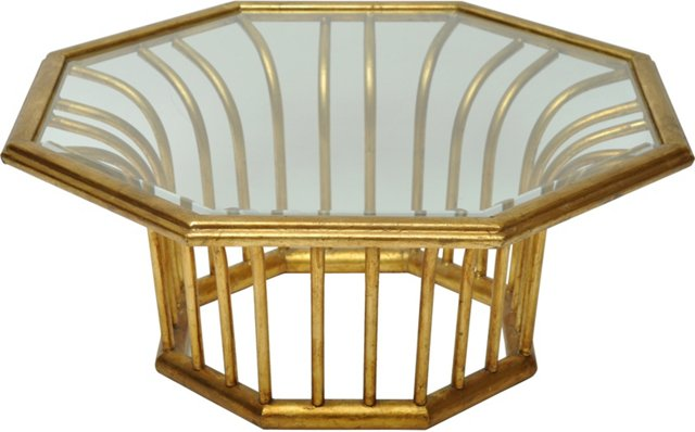 Gold and Glass Cocktail Table
