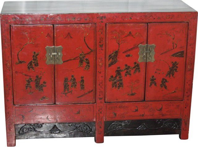 19th-C. Red Lacquer Twin Sideboard