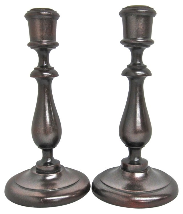 Turned Wooden Candlesticks, Pair