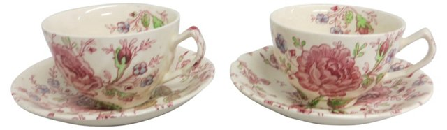 Chintz Cups & Saucers, Pair