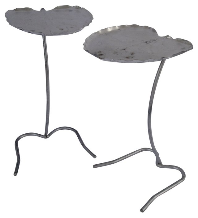 Iron Lily Pad Nesting Tables, Pair