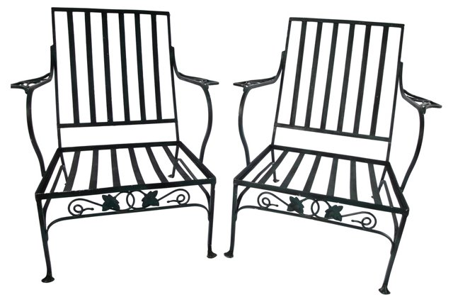 Wrought Iron Armchairs, Pair