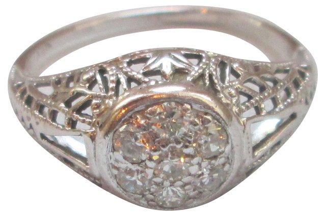 Deco Diamond Basket Ring