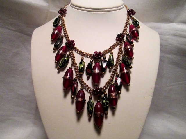 Venetian Glass & Garnet Festoon Necklace