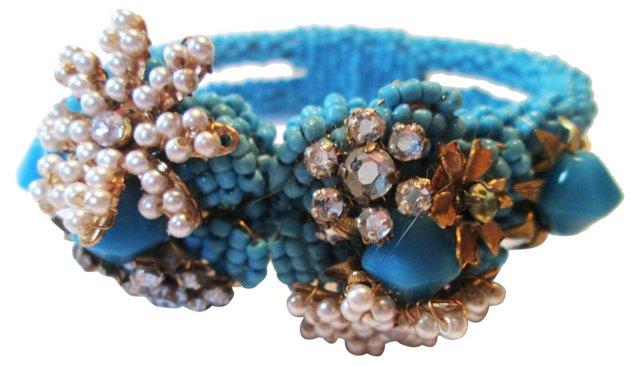 Glass Bead Clamper Bracelet