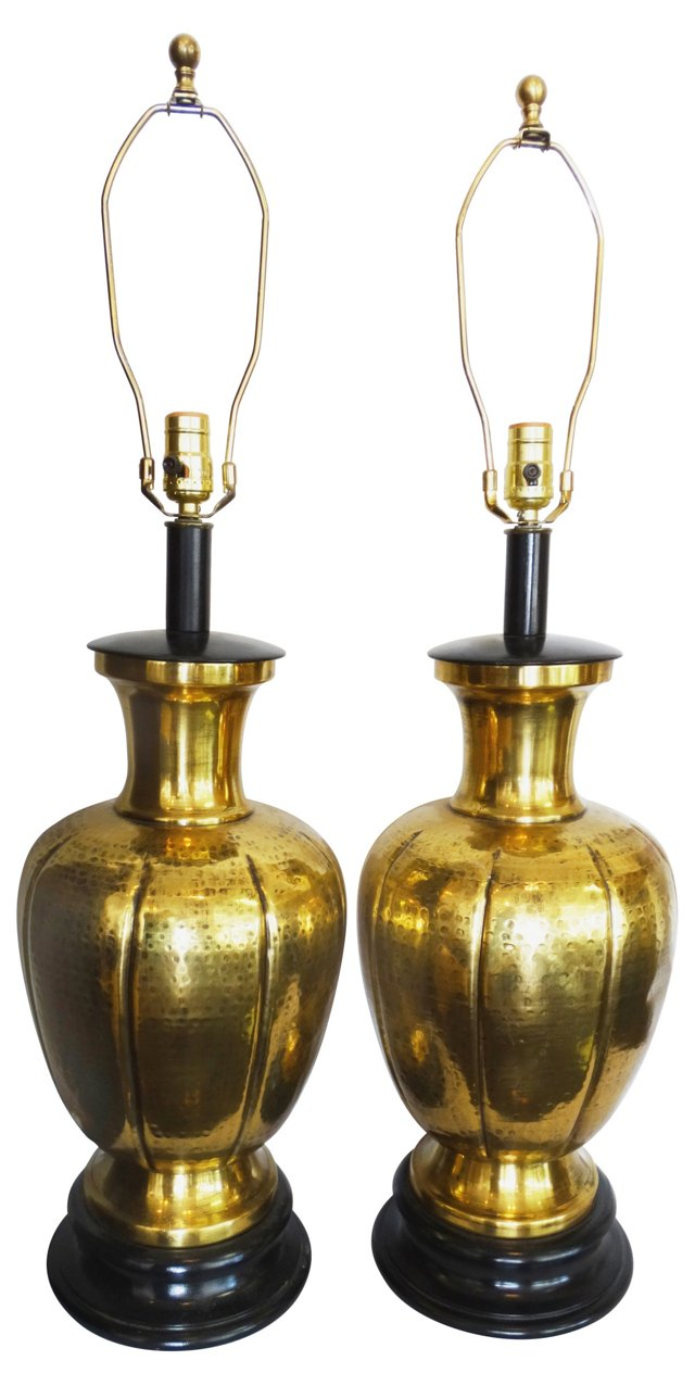 Hammered Brass Urn Lamps, Pair