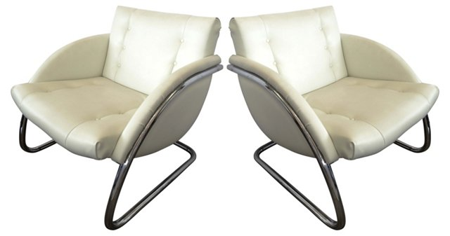Cantilevered Chrome Chairs, Pair