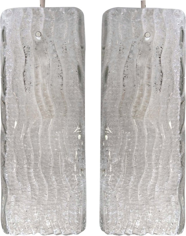 Midcentury Kalmar Glass Pendants, Pair