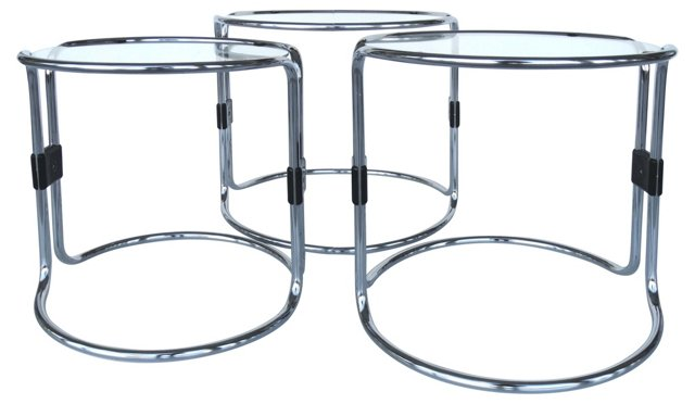 Chrome & Glass Nesting Tables, S/3