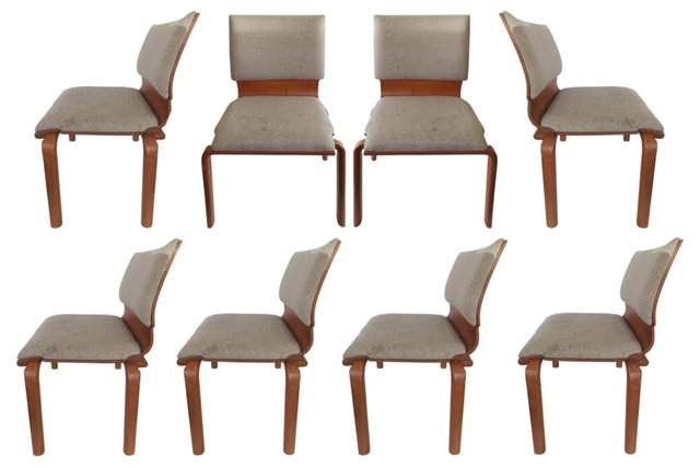Midcentury Stacking Bentwood Chairs, S/8