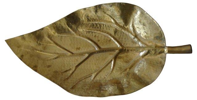 Hammered Brass Leaf Bowl