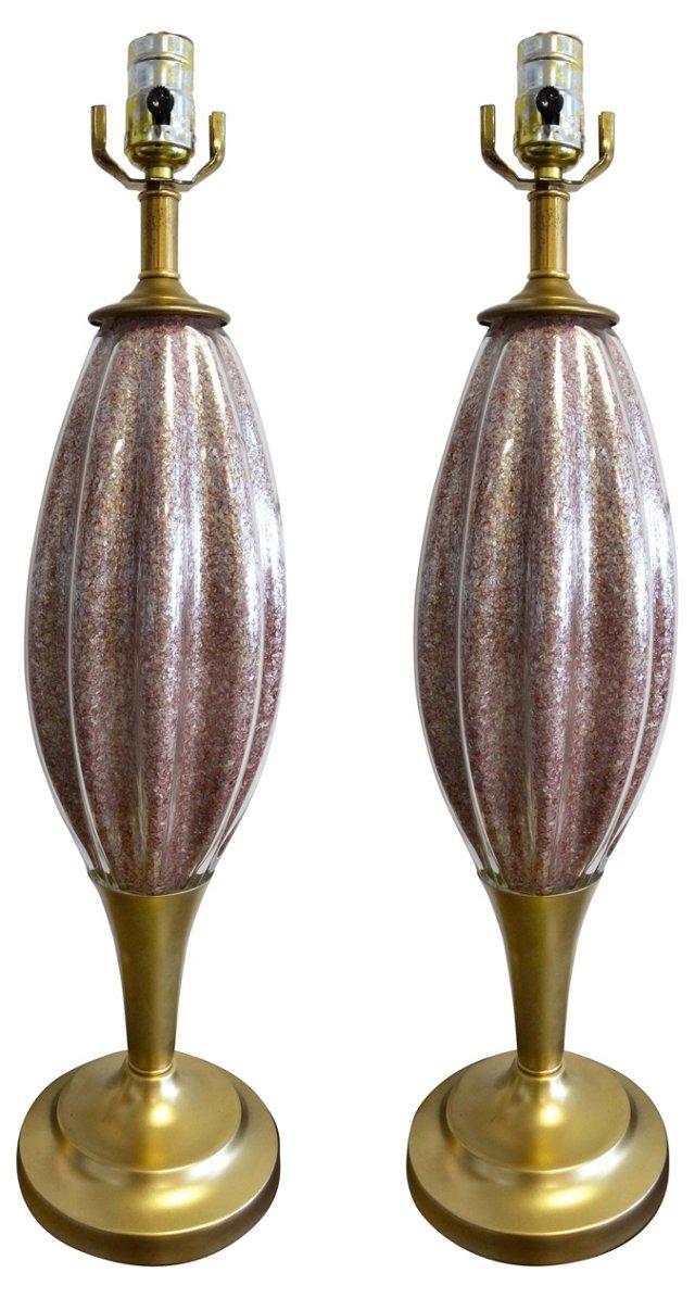 Mauve Murano Glass Lamps, Pair
