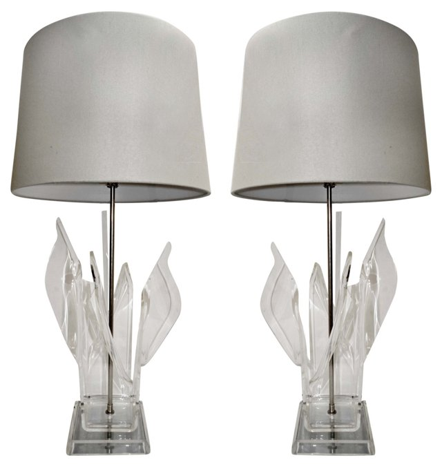 Lucite Flame Lamps, Pair