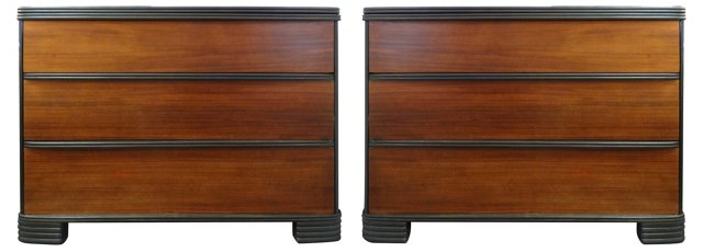 Cerused Mahogany Chests, Pair