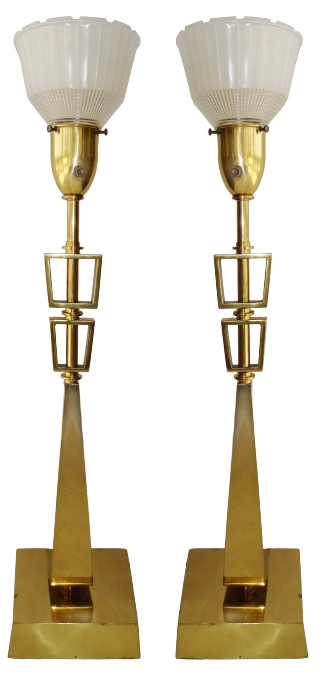 Brass Rembrandt-Style Lamps, Pair