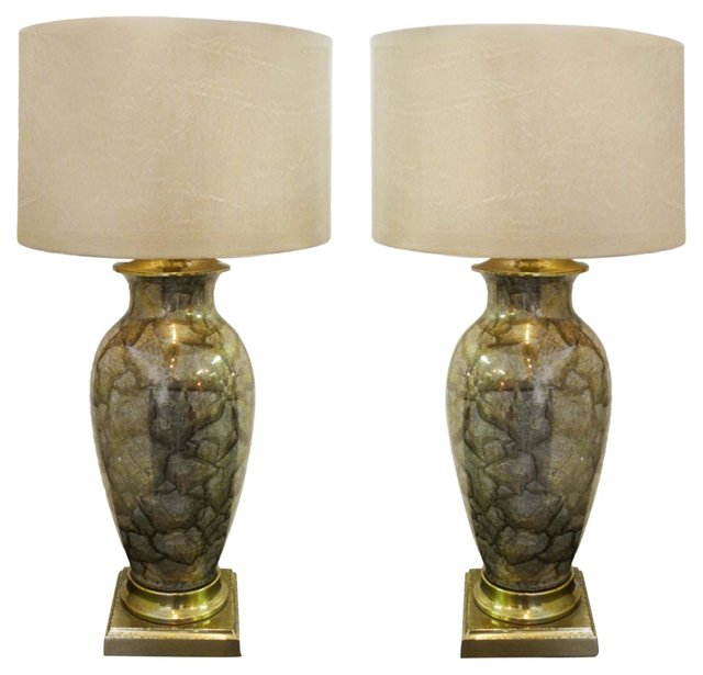 Églomisé Marblized Glass Lamps, Pair