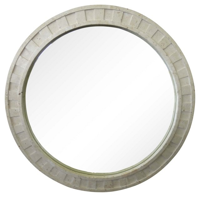 Round Tessellated Fossil Stone Mirror