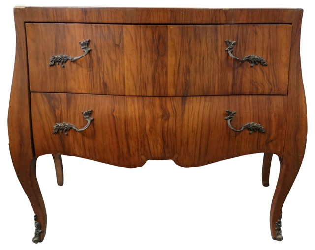 Petite Italian Olivewood Bowfront  Chest