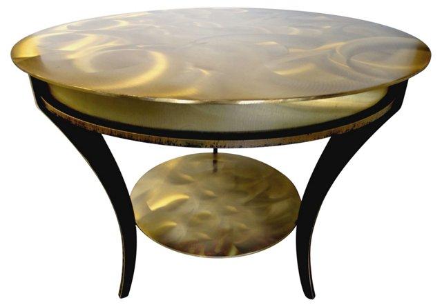 Iron Table w/ Brass Swirl Pattern Finish