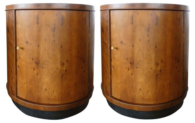 Matched Grain Drum Side Tables, Pair