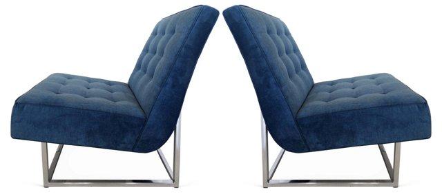 Blue Velvet   Slipper Chairs, Pair