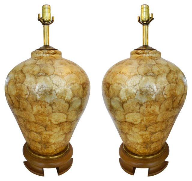 Lacquered Capiz Shell Table Lamps, Pair