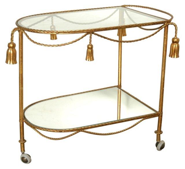 Gilded Rope & Tassel Bar Cart