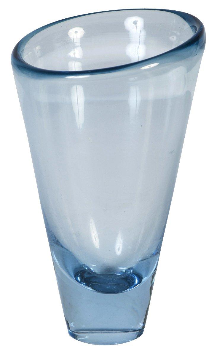 Holmegaard Clear Blue Glass Vase