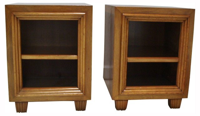 Art Deco End Table Cabinets, Pair