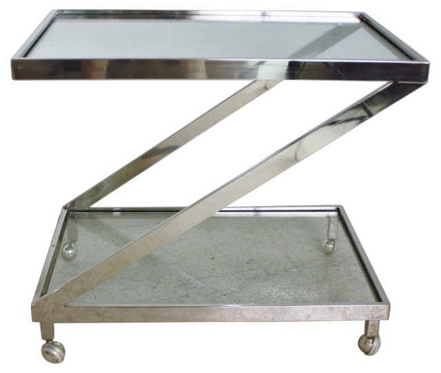 Z-Frame Chrome Bar Cart