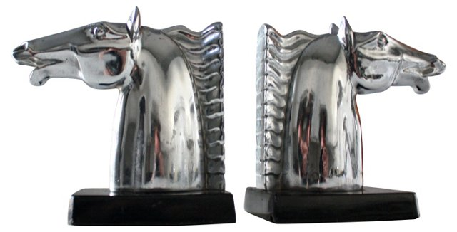 1930s Ronson Horse Bookends, Pair