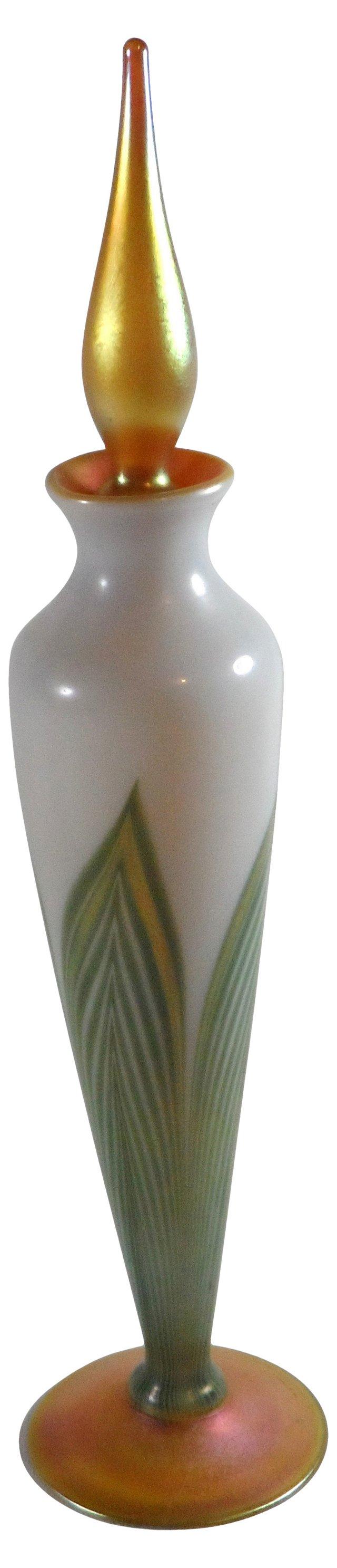 Tiffany Favrile Glass Bottle, Signed