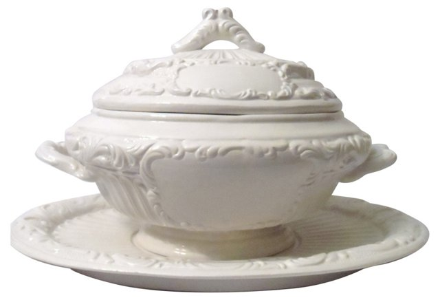 White Tureen & Serving Plate
