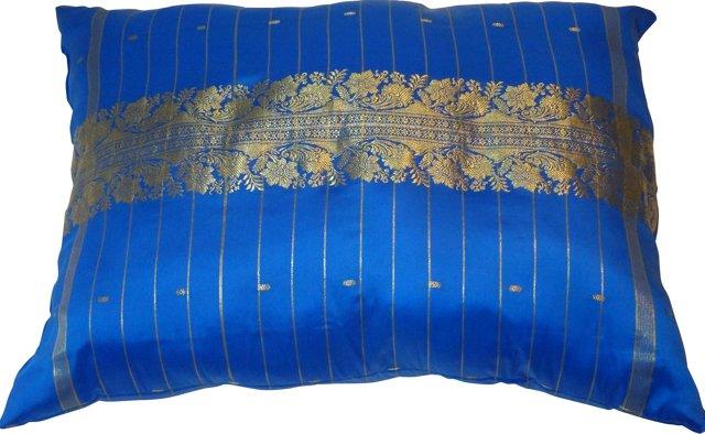 Blue Indian Sari Pillow