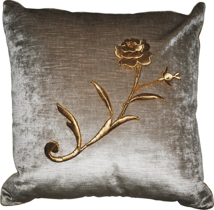 Velvet Pillow  w/ Antique Embroidery